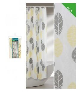 Tenda doccia 180 x 200 fantasia foglie grigio e giallo Feridras 187079