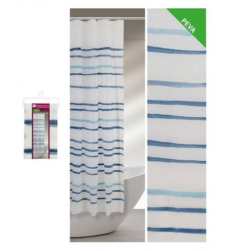 Tenda doccia fantasia righe acquarello blu 120 x 200 Feridras 187054