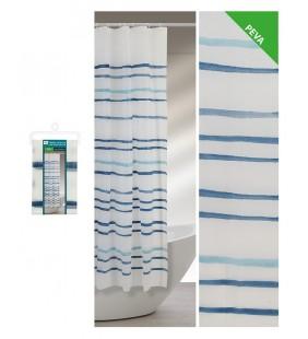 Tenda doccia strisce acquarello blu 180 x 200 Feridras 187058