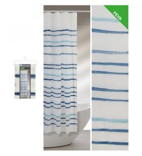 Tenda doccia 240 x 200 a strisce acquarello blu Feridras 187062