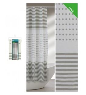 Tenda doccia fantasia strisce e pois color grigio 180 x 200 Feridras 187059