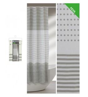 Tenda per doccia strisce e pois grigi. 240 x 200 Feridras 187063