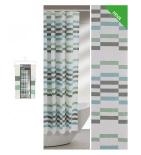 Tenda doccia a rettangoli blu verdi e grigi 240 x 200 Feridras 187061