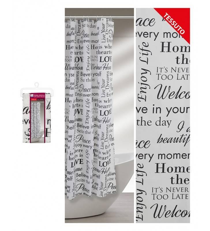 Tenda doccia con fantasia scritte nere 120 x 200 Feridras 187048