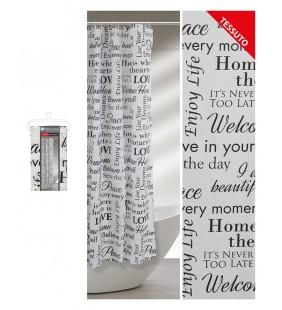 Tenda doccia con motivo a scritte 240 x 200 con ganci e fascia Feridras 187030