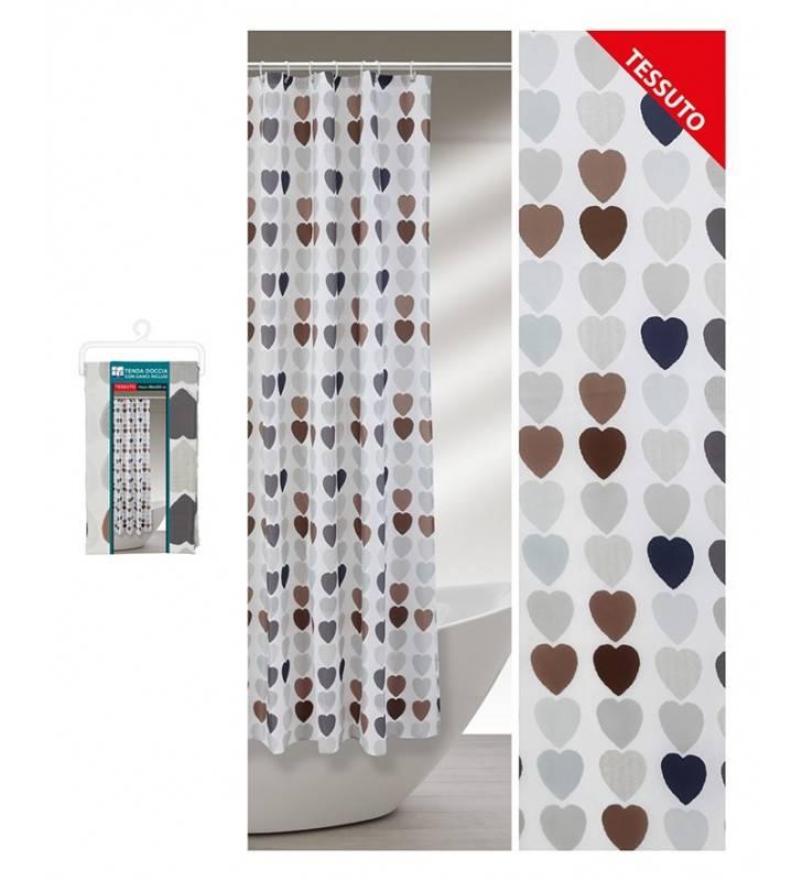 Tenda doccia a cuoricini colorati in tessuto180 x 200 Feridras 187005