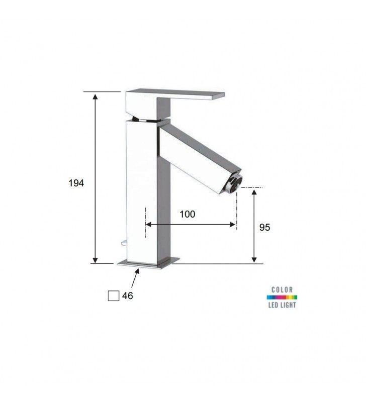 Miscelatore per lavabo con luce a led q-color Remer QR1X