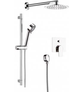 Set doccia composto da soffione doccia ultra piatto, saliscendi crom asta tonda e doccetta a 4 funzioni - serie dream Remer D...