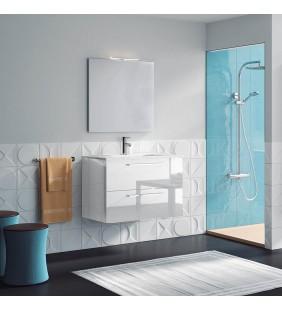 Composizione sospesa easy 100 cm bianco lucido completa di specchio e applique ROYO SCAMOB0041CP
