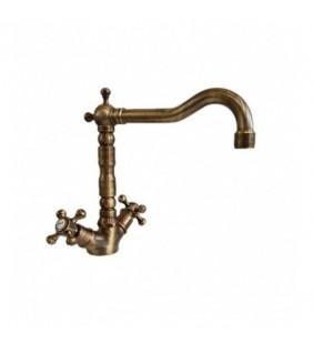Rubinetto lavabo monoforo bocca alta in ottone con scarico - Serie Bronzo Idroclic 2122