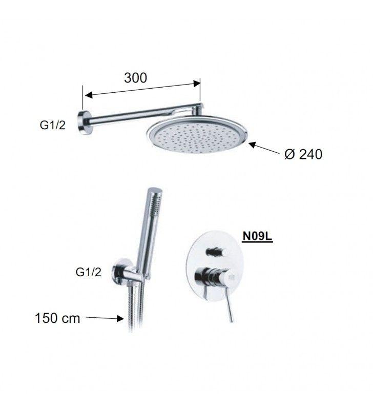 Set doccia con soffione, doccia minimale e miscelatore - serie minimal Remer N09S02