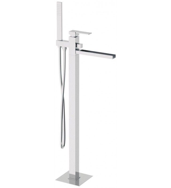 Miscelatore vasca da pavimento con bocca a cascata deviatore e kit doccia serie qubika casc for Rubinetto vasca da bagno