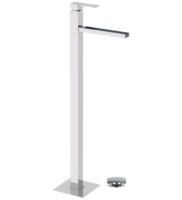 Miscelatore lavabo da pavimento con getto a cascata serie qubika
