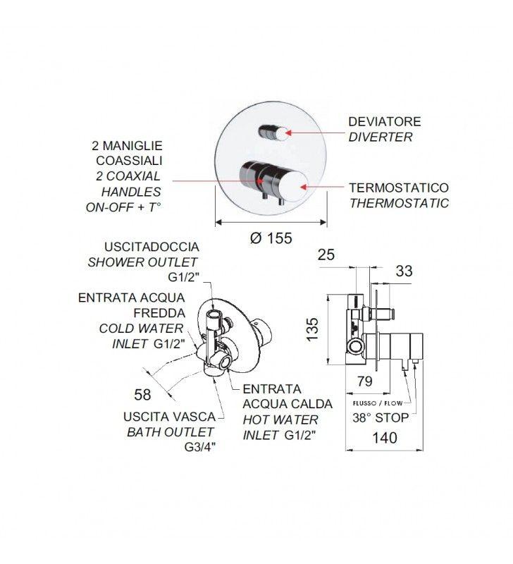 Rubinetto termostatico da incasso con deviatore per vasca-doccia - serie minimal thermo Remer NT09