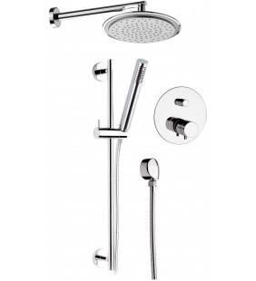 Set doccia con soffione, saliscendi e miscelatore - serie minimal thermo Remer NT09S01