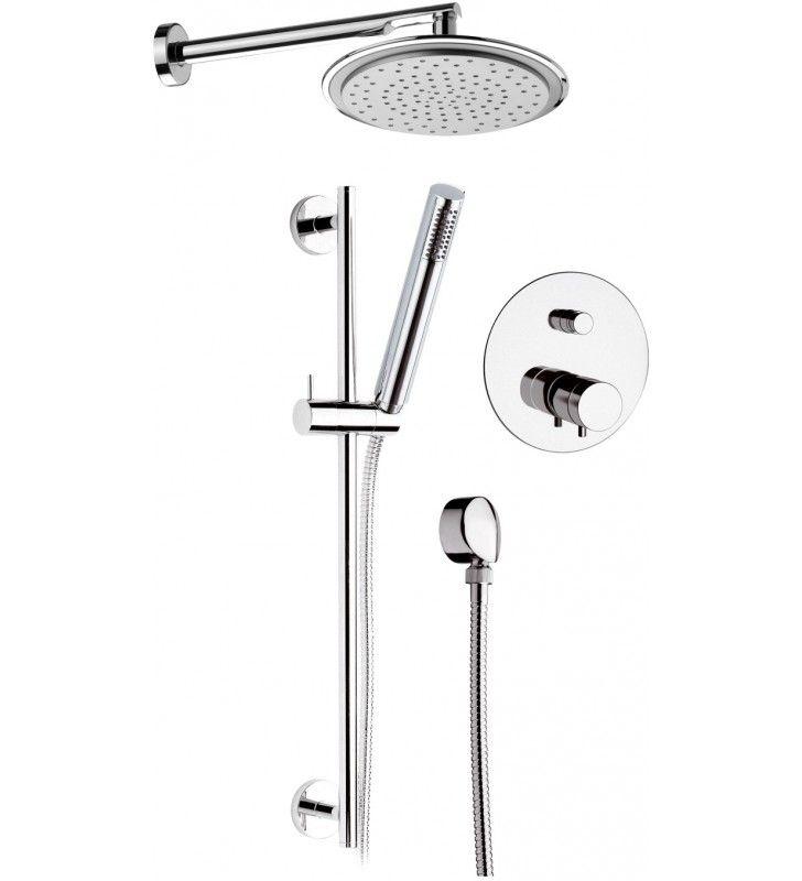 Set doccia con soffione, saliscendi e miscelatore - serie minimal thermo