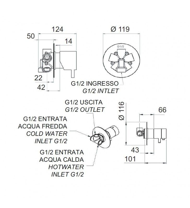 Rubinetto termostatico doccia con deviatore 4 posizioni su doppia piastra - serie minimal thermo Remer NT94C
