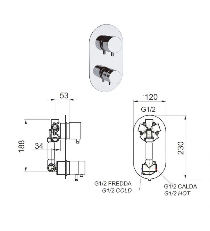 Miscelatore termostatico doccia con deviatore 5 posizioni - serie minimal thermo Remer NT95