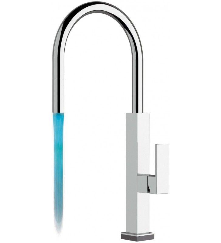 Rubinetto lavello quadrato touch-me con luce led - serie kitchen touch colour Remer QKTR73