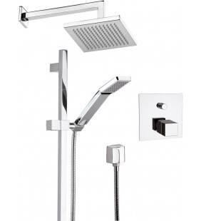 Set doccia con soffione sq, saliscendi e miscelatore incasso termostatico - serie qubika thermo Remer QT09S01