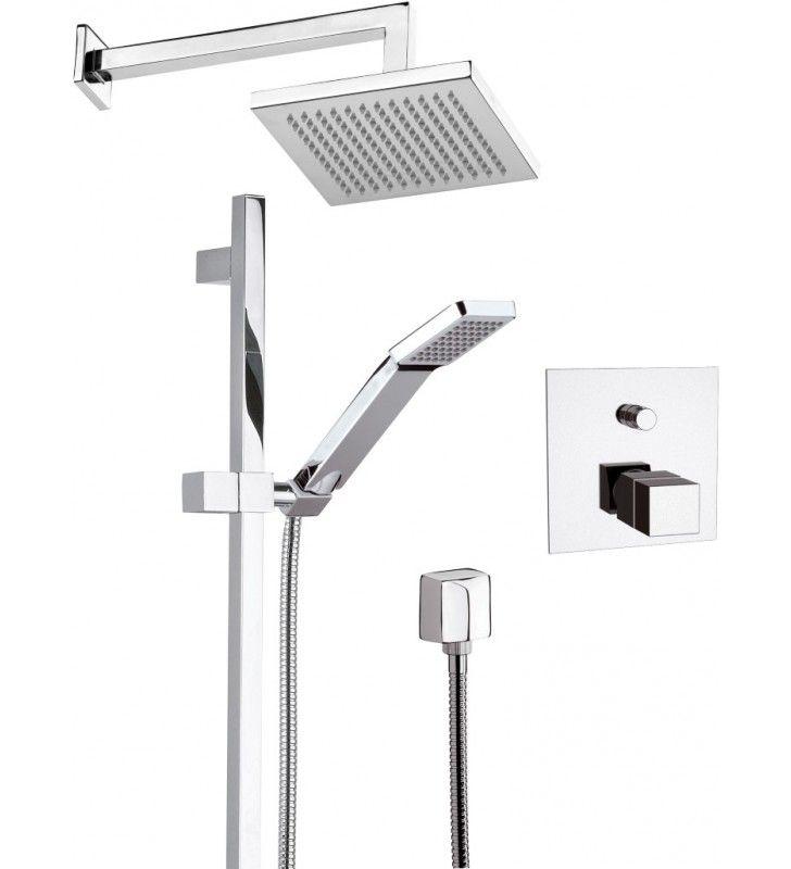 Set doccia con soffione sq saliscendi e miscelatore incasso termostatico serie qubika thermo - Soffione doccia incasso ...