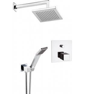 Set doccia con soffione sq, supporto deluxe e miscelatore incasso termostatico - serie qubika thermo Remer QT09S02