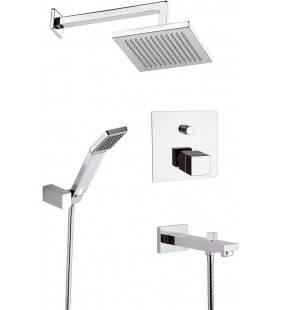Set doccia con soffione sq, supporto con doccetta e miscelatore incasso termostatico - serie qubika thermo Remer QT09S03