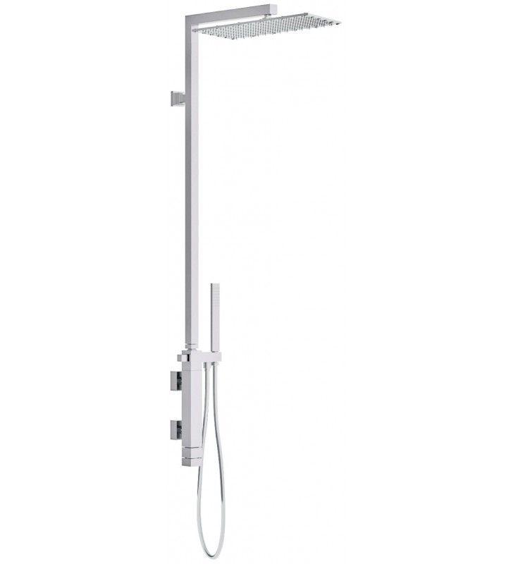 Set doccia con miscelatore termostatico, doccetta e colonna doccia con soffione xl - serie qubika thermo Remer QT36XL