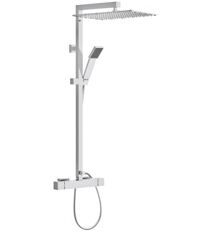 Set doccia con rubinetto termostatico, colonna doccia quadra con saliscendi e soffione xl- serie qubika thermo