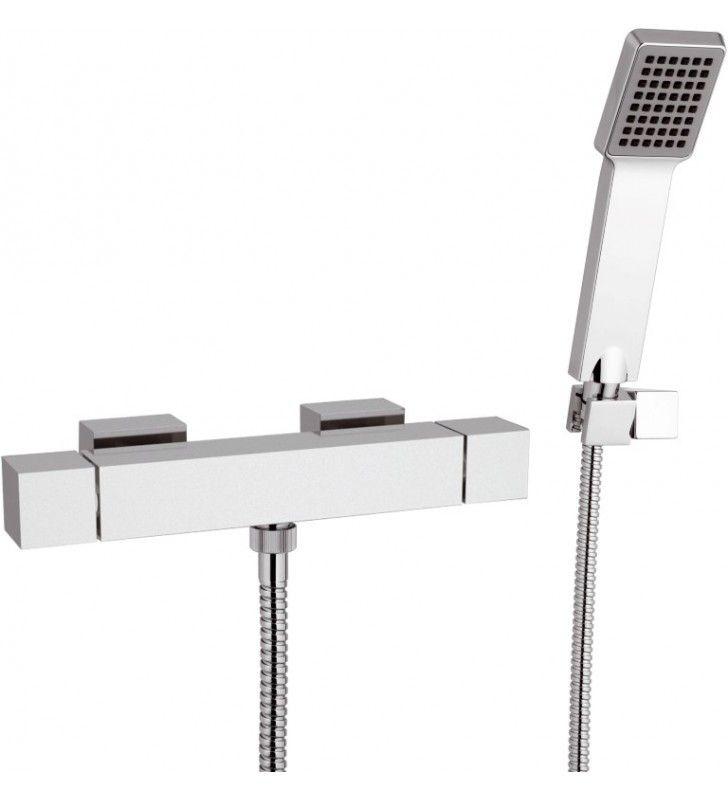 Rubinetto termostatico esterno per doccia con doccia duplex - serie qubika thermo