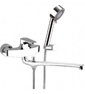 Rubinetto lavabo/vasca con canna fusa e deviatore, con kit doccia serie class line Remer L49