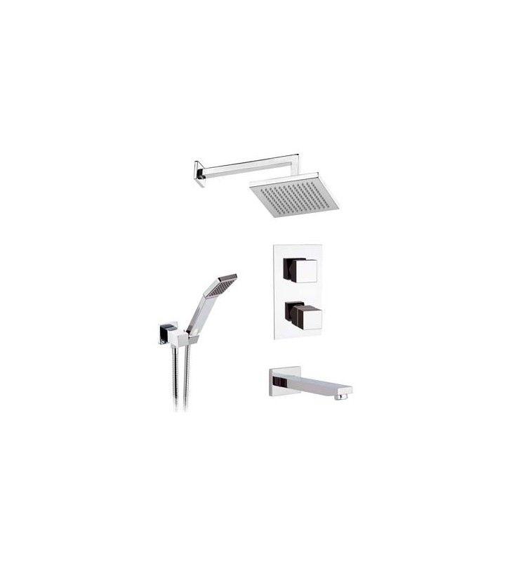 Set doccia con soffione, supporto deluxe, doccetta e miscelatore termostatico - Serie Qubika Thermo