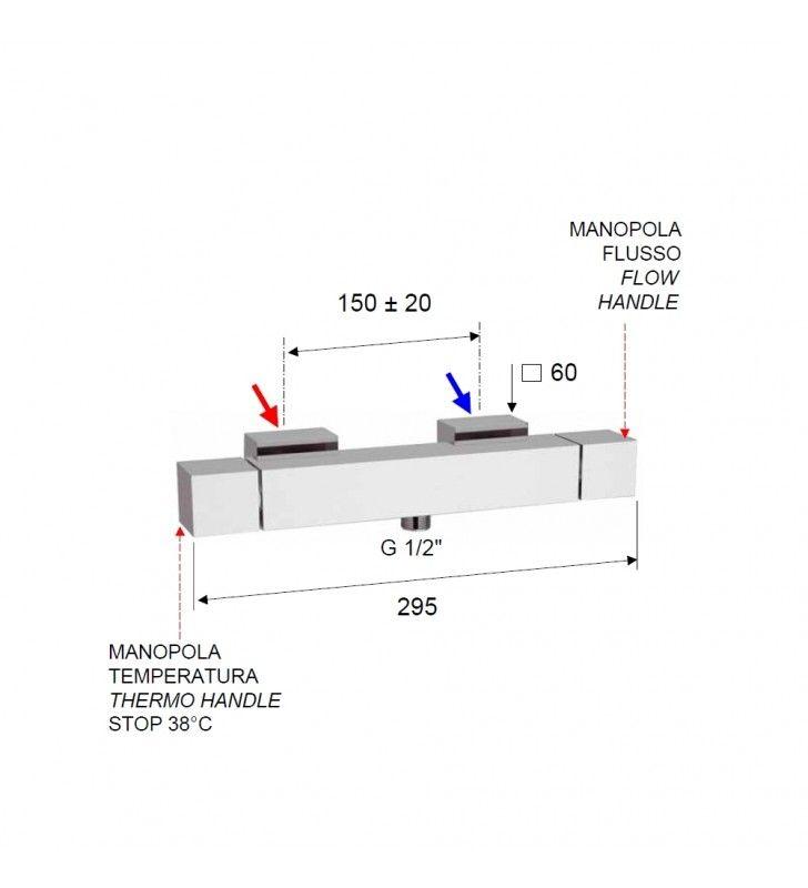 Rubinetto termostatico esterno doccia - serie qubika thermo Remer QT31