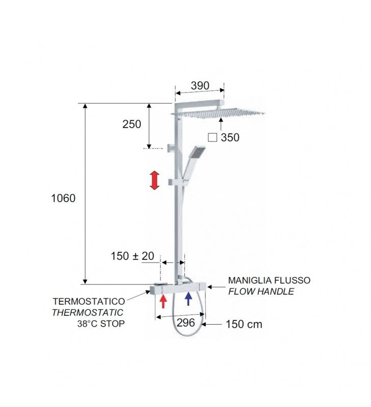 Set doccia con rubinetto termostatico, colonna doccia quadra con saliscendi e soffione xl- serie qubika thermo Remer QT37XL