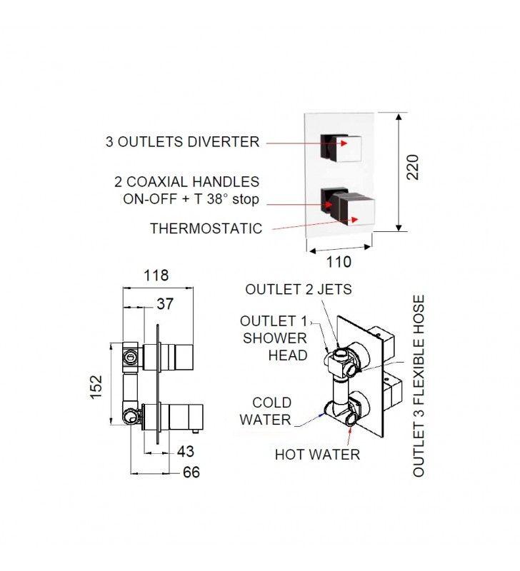 Rubinetto termostatico doccia, tre vie su unica piastra - serie qubika thermo Remer QT93
