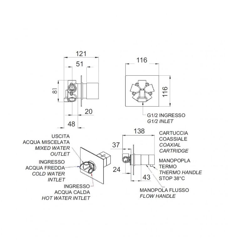 Rubinetto termostatico doccia, 4 posizioni su doppia piastra - serie qubika thermo Remer QT94C