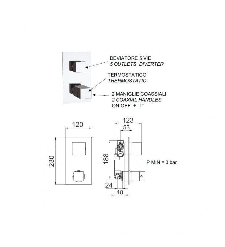 Rubinetto termostatico doccia,5 posizioni su piastra unica - serie qubika thermo Remer QT95