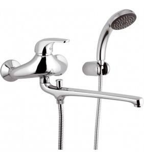Rubinetto lavabo/vasca con bocca fusa lunga e kit doccia - serie project Remer P49