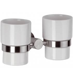 Portabicchiere doppio in ceramica - serie minimal inox Remer MI16INOX