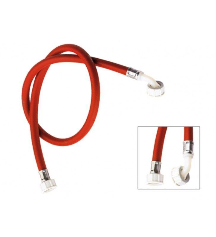 Tubo di carico per lavatrice, colore rosso con curvetta 150 cm RR 291150RS