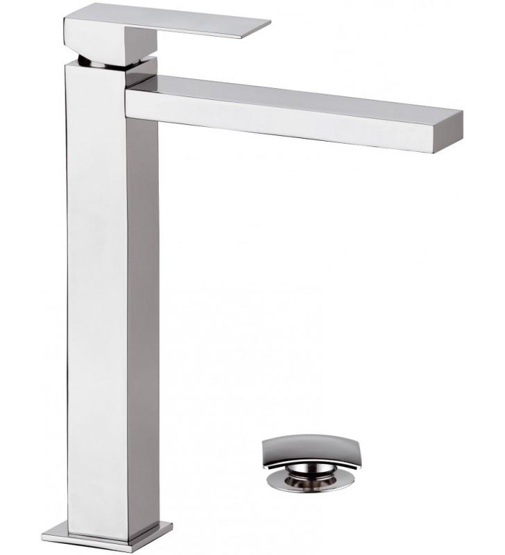 Rubinetto extra alto xl per lavabo con scarico serie q design - Rubinetto bagno alto ...