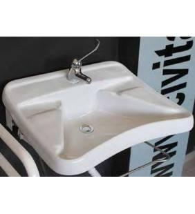 Lavabo ergonomico bianco con appoggiagomit