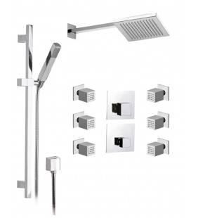 Set doccia composto da soffione, saliscendi con doccetta e rubinetto - serie oxy Daniel Rubinetterie OX23613ZCR