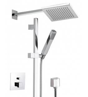 Set doccia consoffione quadrato, saliscendi, doccetta e rubinetto - serie oxy Daniel Rubinetterie OX23614ZCR