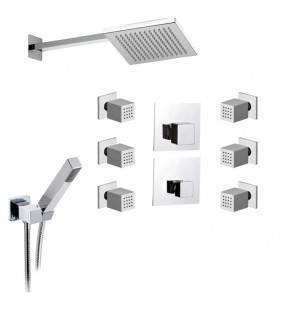 Set doccia con soffione, doccetta, rubinetto e deviatore con 6 getti - serie oxy Daniel Rubinetterie OX23616ZCR