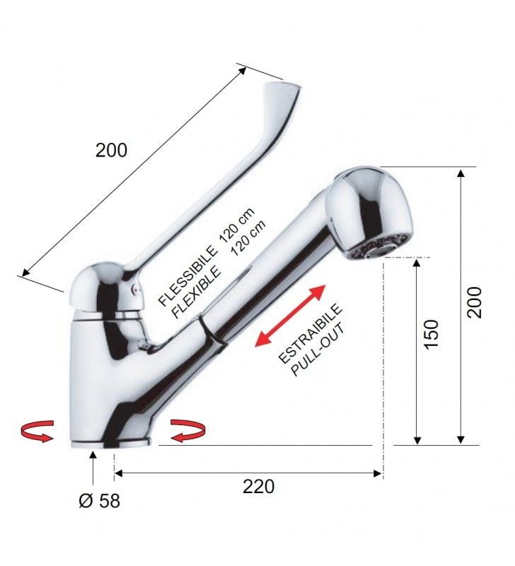 Rubinetto per lavello con leva lunga e doccia estraibile a getto variabile 200 - serie kiss Remer K47LL200