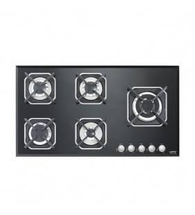 Piano cottura in vetro nero con accensione elettronica integrata e 5 fuochi. Hgn950 marte 90 black Lofra 29230207