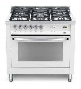 Cucina bianco perla con piano cottura lucidato a specchio e forno a gas pbpg 96gvt/c bianco perla Lofra 41060100