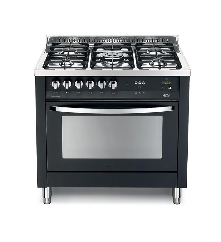 Cucina con forno e piano cottura nero finitura acciaio lucidato a specchio  pnmg 96mft/c nero matt