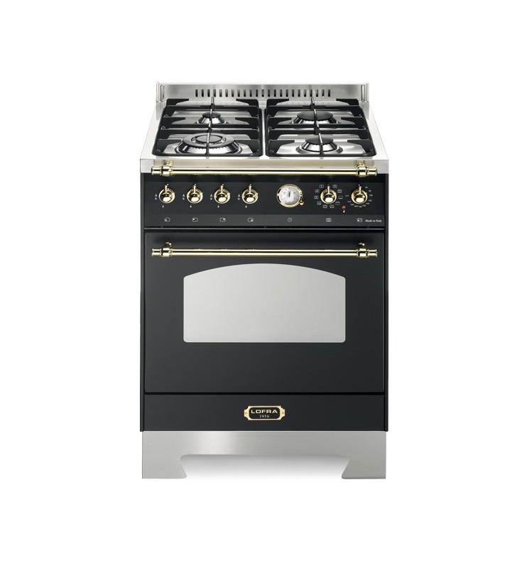Cucina con forno e piano cottura nero con dettagli oro classe a rnm66mft/ci